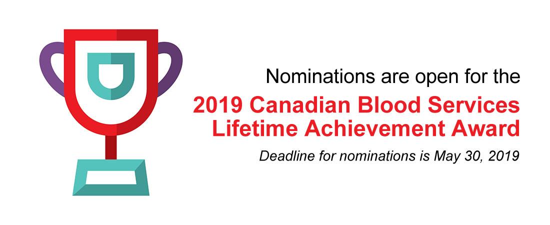 2019 Canadian Blood Services Lifetime Achievement Award