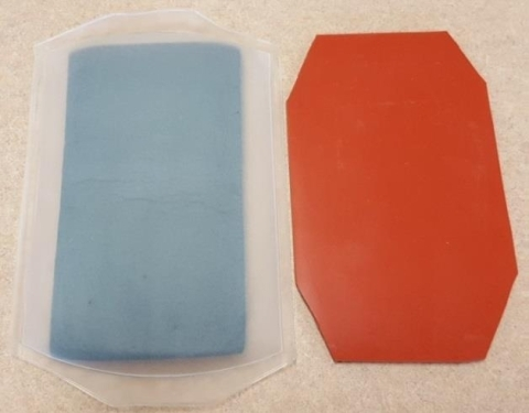 Old foam-based centrifuge inserts (left) and longer-lasting silicon inserts (right).