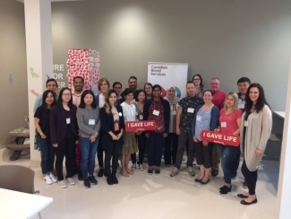Attendees at the 2019 Research Trainee Workshop at the Eau Claire donor centre in Calgary