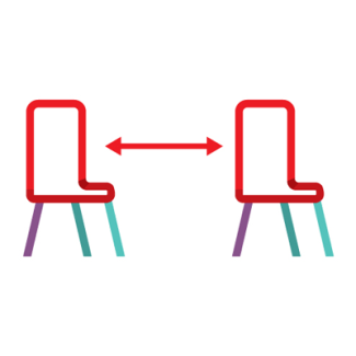 Chairs spaced 2 meters apart icon - symbol