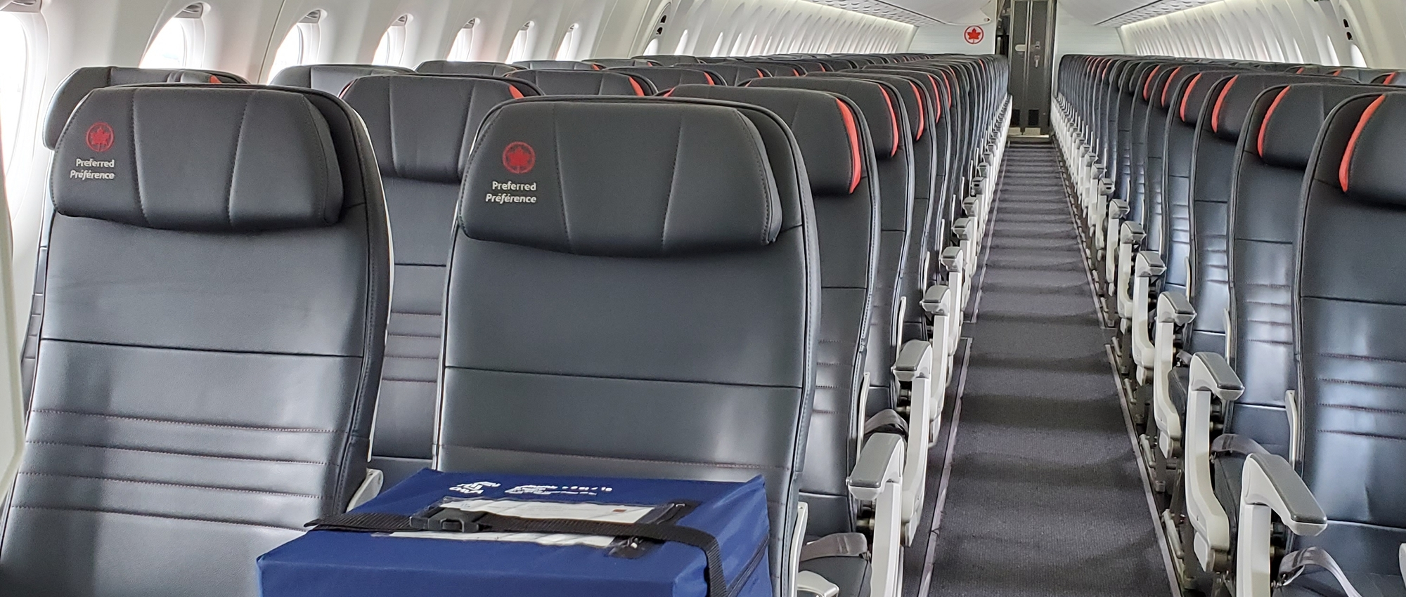 empty Air Canada plane with empty leather seats